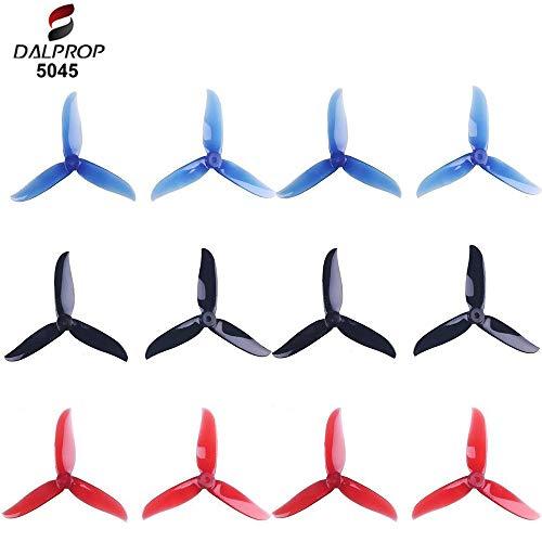 12pcs 5045 hélices de 3 láminas 5 Pulgadas Tri Blade Props para 2204 2205 2206-2306 Motores sin escobillas FPV Racing Drone Quadcopter (Transparente-Rojo, Negro, Azul-Transparente)