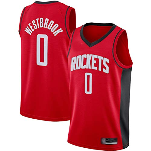 POLIAB Men's Russell Houston Basketball Breathable Westbrook Rockets Jersey Quick-Drying Sports #0 Red T-Shirts