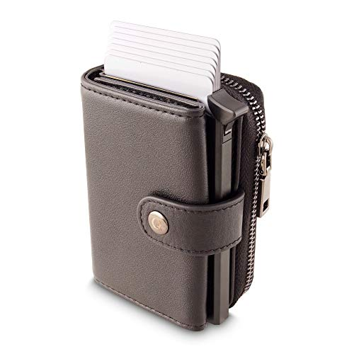 Wallet for Men and Women - Model Stellar, Black | Genuine Cowhide...