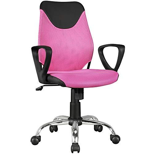 FineBuy Kinder-Schreibtischstuhl Pink Terni für Kinder ab 6 mit Lehne | Kinder-Drehstuhl Kinder-Bürostuhl ergonomisch | Jugendstuhl höhenverstellbar