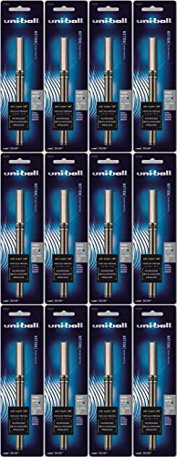 Uni-ball–Bola de rodillo palo pluma impermeable, tinta azul, Micro, docena