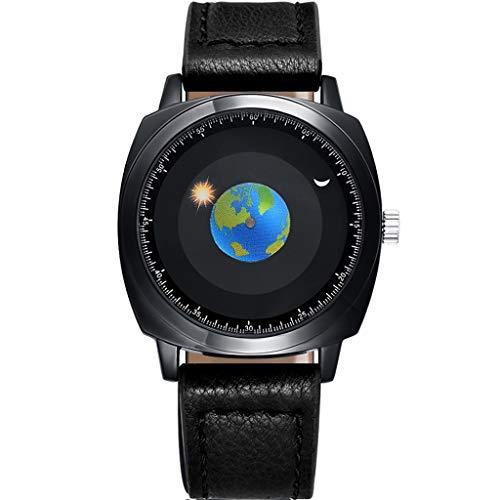 DLT Orologio da Uomo analogico Creativo, Earth Starry Sky Sport Orologi da Uomo, Orologio da Polso da Uomo al Quarzo Semplice, Cinturino Nero Impermeabile 50m (Colore : Leather)