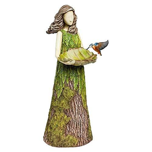 STARMOON Sherwood Farn Fee Statuen mit Vogel Feeder Blatt-Förmigen Fütterung Schüssel Imitiert Die Textur von Bäume Garten Kunst Harz Dekorative Figuren