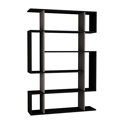 Homitis Mito Bookcase, Wood Effect, Anthracite/Light Mocha, 25,5 x 108,5 x 161 cm