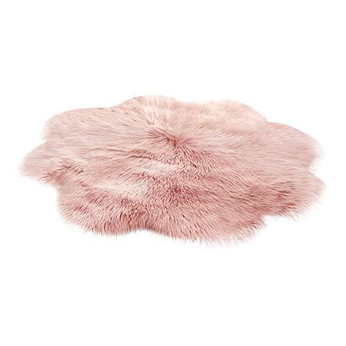 LJXX Teppich Neue Weiche Kunstpelz Wollteppich Wohnzimmer Sofa Plüsch Schlafzimmer Bettwäsche Runde Bodenmatte 60X60 cm pink1