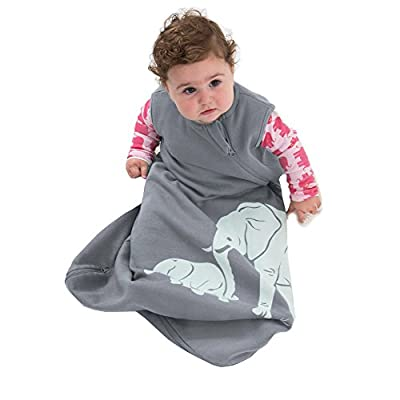 Wee Urban Cozy Basics 4 Season Baby Sleeping Bag, Grey Elephant, Med 6-18m