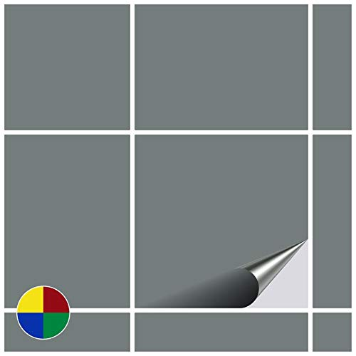 FoLIESEN Fliesenaufkleber für Bad und Küche - 15x15 cm - grau matt - 200 Fliesensticker für Wandfliesen