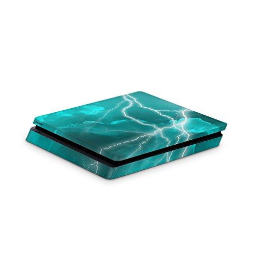 Skins4u Skin Designfolie Aufkleber kompatibel mit Playstation 4 Slim PS4 Apocalypse Türkis