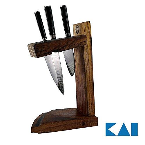 Exclusief handgemaakt messenblok | + 3 Kai Shun Classic messen | DM-0701 (universeel mes) | + DM0706 (santoku) | + DM-0727 (kleine Santoku) | VK: 629,- €