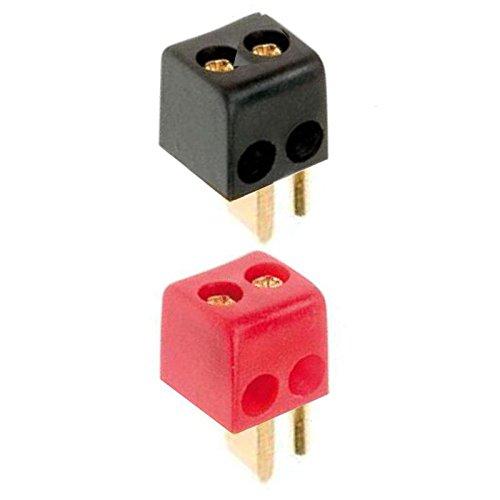 erenLine® 4X Lautsprecher- Mini DIN Stecker gewinkelt; Set mit 4 Steckern: 2X rot + 2X schwarz; Lötfrei; mit Schraubanschluss; Hochwertige Ausführung mit vergoldeten Kontakten