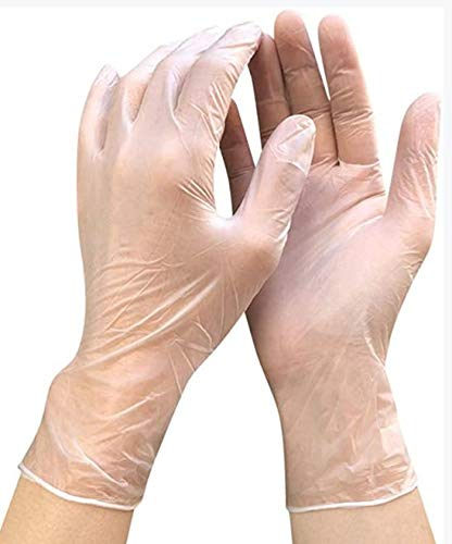 Whew Clear Vinyl Gloves Class 100 Pieces,Cleanroom Compatible,Powder Free, Textured Nitrile Gloves(Large Size)