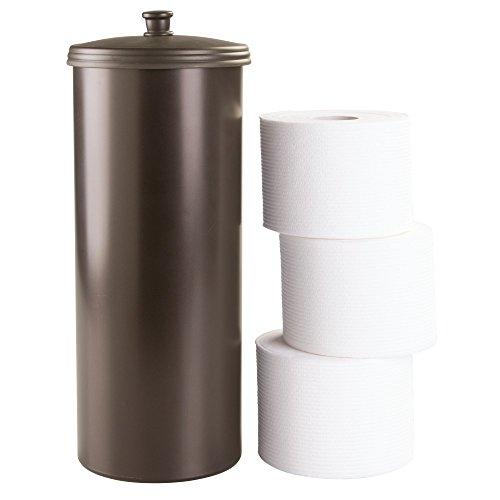 InterDesign Kent Free Standing Toilet Paper Holder – Spare Roll Storage for Bathroom, Brown