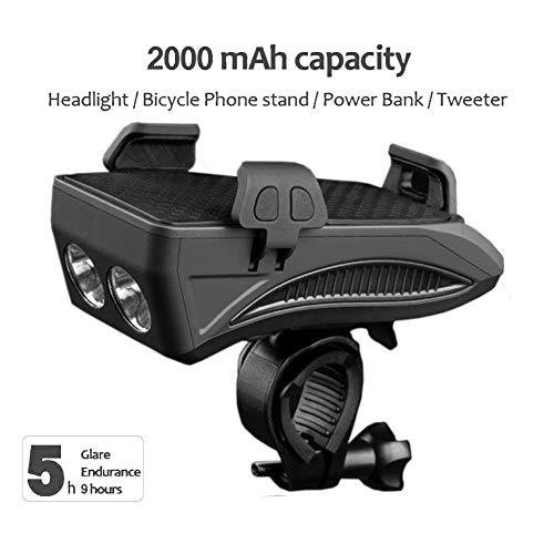 QWERDF Set di 4 luci Frontali per Bici Ricaricabili USB, Supporto per Telefono Mobile Antiurto con Power Bank, Corno da Ciclismo LED Lampada Super Brillante,Black