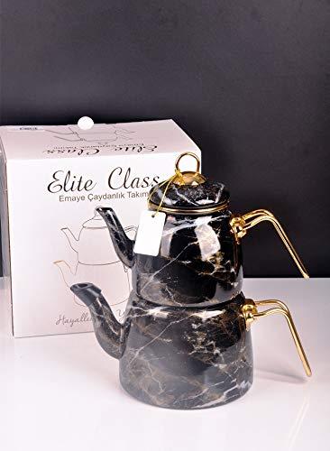 Paci Elite Class Teekanne Teekessel Teekocher Caydanlik Emalie Türkische Caydanlik Schwarz Marmor Induktion geeignet