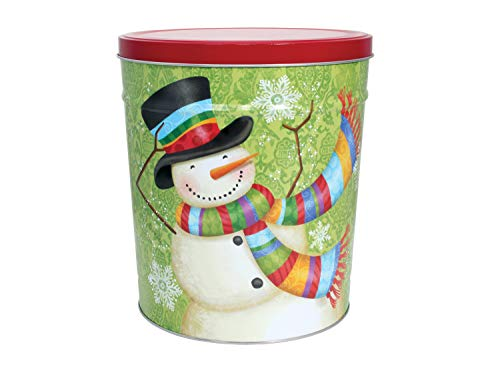 Lowest Prices! C.R. Frank Popcorn - Gourmet Popcorn Tin, 6.5 Gallon, Snowman (2 Way, Cheese and Cara...