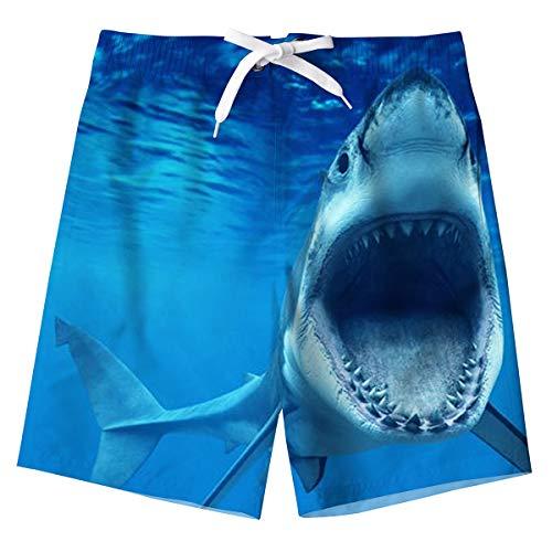 Schwimmhose Jungen Blauer Sommer Badehose Hai 3D Schnell trocknende Surfen Boardshorts Badehosen mit Taschen für Kinder 10-12 Jahre