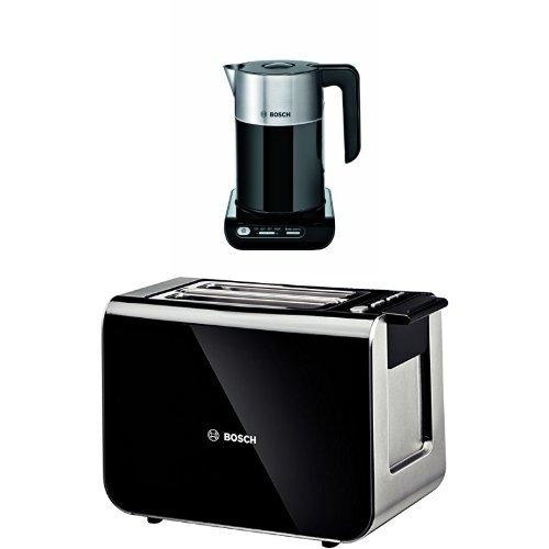Bosch TWK8633 Styline Collection Cordless Jug Kettle, 1.5 L and Bosch TAT8613 Styline 2 Slice Toaster Bundle - Black