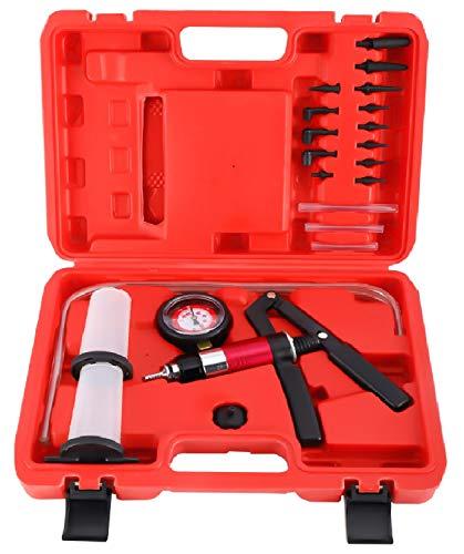 8MILELAKE 21pcs Handheld Vacuum Pump Set Tester Compatible for Automotive with Adapters Brake Bleeder Test Kit