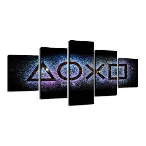 WJWORLD Play Station Console Gaming Arena 5 pièces Impression sur Toile Wall Art Decor-150 * 80cm-sans Cadre