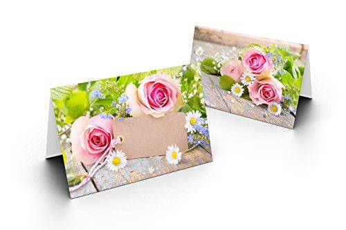 25 Tischkarten (Grün mit Rose) UV-Lack glänzend - für Hochzeit, Geburtstag, Taufe, Kommunion, Firmung, Jubiläum als liebevolle Tischdekoration!Format 8,5 x 11,2 cm