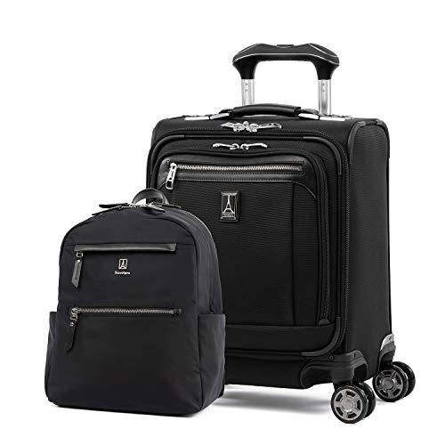 Travelpro Platinum Elite-Softside Expandable Spinner Wheel Luggage, Backpack Set, Shadow Black, 2-Piece