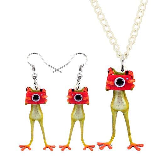 AdronQ Conjunto de joyería de acrílico Cámara Pendientes de Collar de Rana de Dedo Rojo Moda Cool Colgante para Mujeres Niñas Encanto