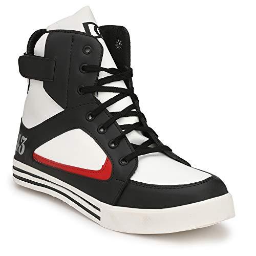 Parmar foot style Men's Casual Sneaker Hip Hop Shoe_10 UK Black White