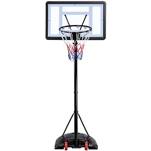 Yaheetech Outdoor Adjustable Basketball Stand, Portable Basketball Hoop Net System on Wheels, 170-230cm