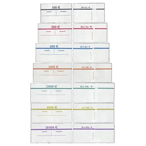 Banderolen Set für Euro Geldscheine je 20x (5 €, 10 €, 20 €, 50 €, 100 € Banderole) + 5x (200 € & 500 € Banderole) Geldbanderole Papier für Geldbündel Fassungsvermögen je 20 Scheine