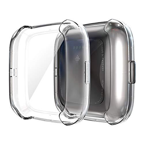 RUANGER Hat-Prinz Full Coverage galvanisieren TPU Fall for Fitbit Versa 2 (schwarz) (Farbe : Transparent)