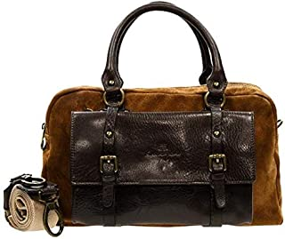 Kaizer KZ1884BR Top Handle Bag for Women - Leather, Brown