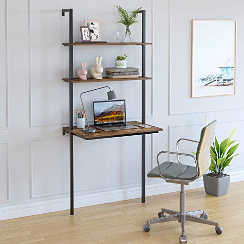 Homfa Wall Mounted Ladder Table with 2 Shelves, Industrial Computer Desk with Storage Rack for Small Space Studying Writing Workstation Against The Wall Stand Organizer Bookshelf, Home Office