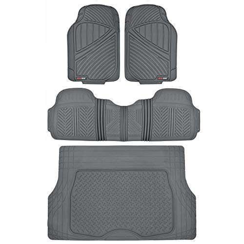 Motor Trend Flextough Rubber Car Floor Mats & Cargo Trunk Mat Set Black Heavy Duty - Odorless, Extreme Duty (Gray) - MT-773-884-GR