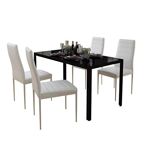Ausla - Set tavolo in vetro temperato e 4 sedie in pelle artificiale per sala da pranzo, tavolo da...