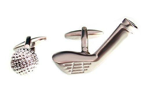 Golf Manschettenknöpfe Ball Schläger silbern (größeres Modell!) + exklusiver Buchbox