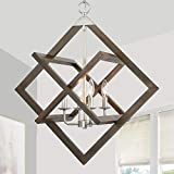 Farmhouse Chandelier for Living Room, Ceiling Light Pendant, Rustic Hanging Lantern Indoor, 4 Vintage Light amrs, 3 Square Wooden Rings