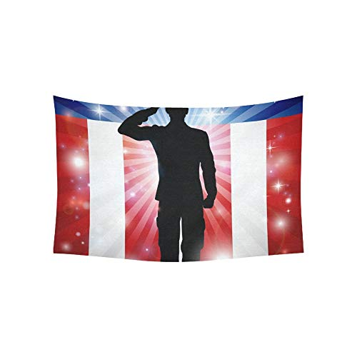 Tapiz Soldado estadounidense Saludando frente Tapices