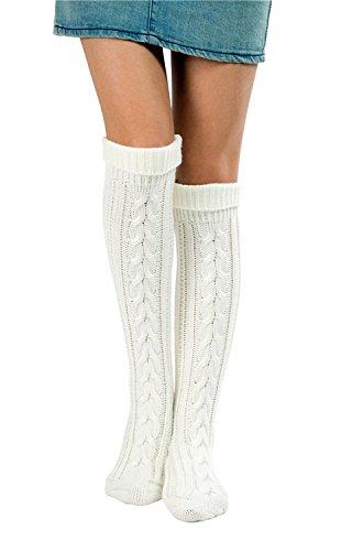 L&ZZ Women Knitted Boot Socks Knit Leg Warmers Knee High Length for Winter (Free Size, White-1)