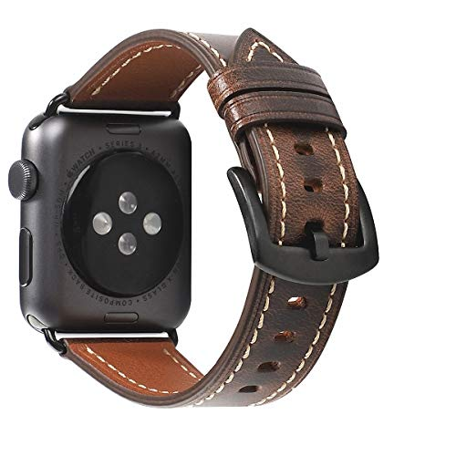 HUAFIY Compatible iWatch Band 42mm 44mm mens Women, Top Grain Leather Band Replacement Strap iWatch Series 5/ 4/ 3/ 2/ 1,Sport, Edition. New Retro discoloured Leather