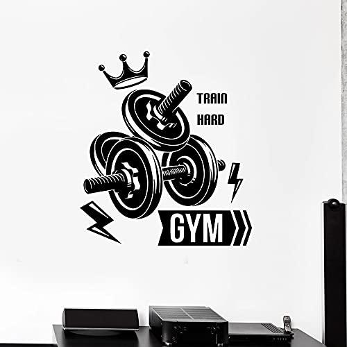Fitness Club pared calcomanía deporte gimnasio mancuernas tren de culturismo decoración interior dura vinilo puerta ventana pegatina arte Mural 56x63cm