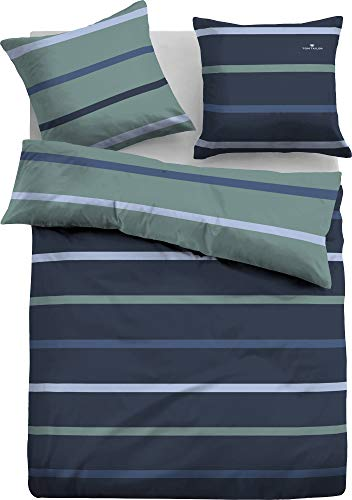 TOM TAILOR Wendebettwäsche Mako-Satin blau-grün Größe 135x200 cm (80x80 cm)