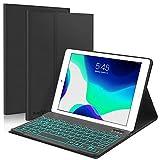 Boriyuan iPad 10.2 8th 7th Generation 2019 キーボードケース 7色 バックライト付き 取り外し可能なキーボード スリム レザー 二つ折り スマートカバー iPad 10.2インチ / iPad Air 10.5インチ (第3世代) / iPad Pro 10.5インチ – ブラック