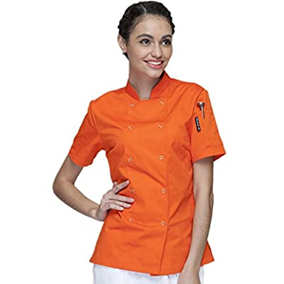 XINFU Fashion Chef's Women's Short Sleeve Kitchen Clothes Western Restaurant Chef Coat Hotle Orange