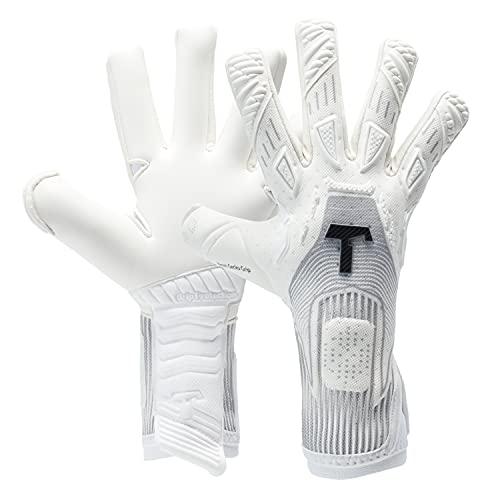 T1TAN Rebel White-Out Torwarthandschuhe für Erwachsene, Fußballhandschuhe Herren Innennaht und 4mm Profi Grip - Gr. 9