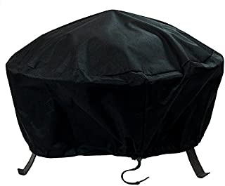Sunnydaze Round Outdoor Fire Pit Cover - Waterproof and Weather Resistant Black Heavy Duty Vinyl PVC with Drawstring Closure - 30 Inch