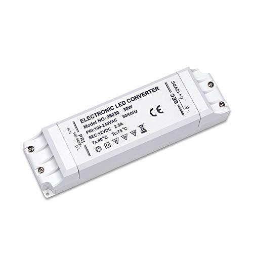 Yafido Led Trafo 230V (AC) auf 12V (DC) 30W 2,5A Driver Leuchtmittel Transformator Für G4 MR11 MR16 GU5.3 LED Birne sowie Lichtstreifen Treiber