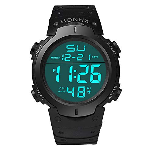 Reloj deportivo impermeable para hombre, pantalla LCD, cronómetro, fecha, goma, reloj deportivo luminoso, marca de lujo
