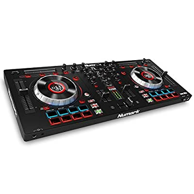 Numark Mixtrack Platinum - 4-Deck DJ Controller with Built-In LCD Displays, Touch-Capacitive Jog Wheels, Touch Strip and 24-bit Audio I/O, Plus Serato DJ Lite and Prime Loops Remix Tool Kit Included