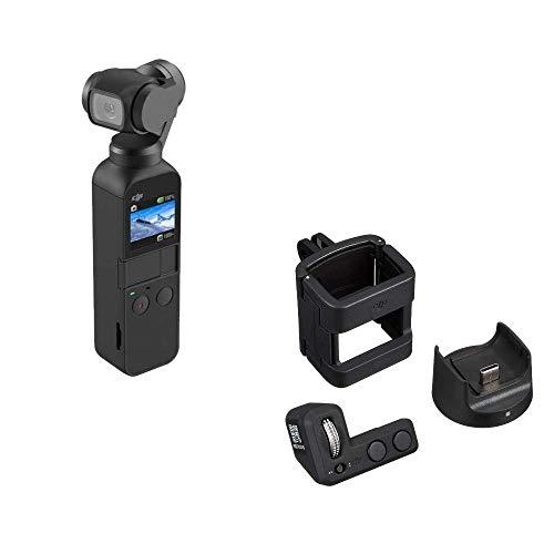 DJI Osmo Pocket, Stabilizzatore 3 Assi con Videocamera 4K Integrata, Risoluzione fino a 4K, 60 fps e Foto da 12 MP, Nero & Kit di Accessori per Osmo Pocket, Include 1 Controller Wheel