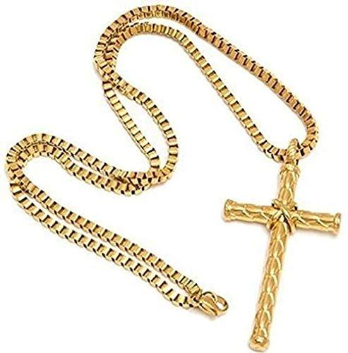 ZPPYMXGZ Co.,ltd Collar Facaiba Vintage Collar Jesús Cruz Colgante Collar para Hombres Acero Inoxidable Grabado Cruz Cadena Collar Cuello Cuello Masculino Accesorios de joyería